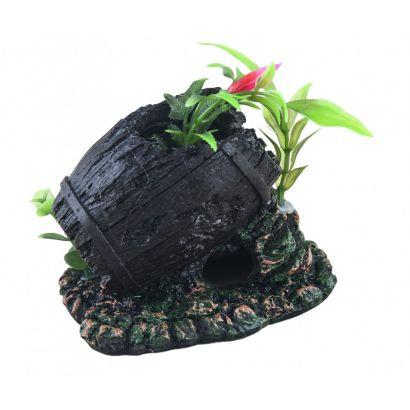 Decor Acvariu Butoi Cu Plante Po-017
