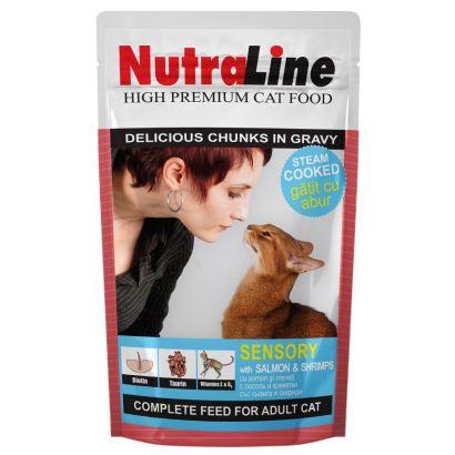 Plic Pisica Nutraline Sensory Somon/creveti 100 G