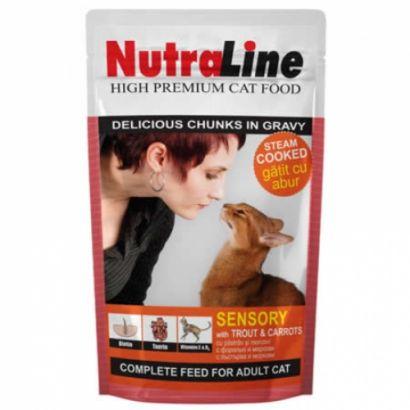 Plic Pisica Nutraline Sensory Pastrav/morcovi 100 G