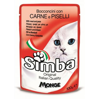 Plic Pisica Simba Carne/mazare - 100gr