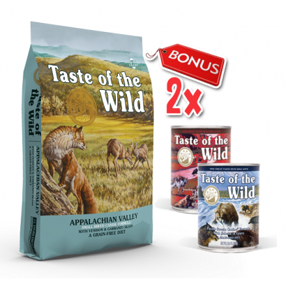Taste Of The Wild - Appalachian Valley Small Breed - 13 Kg  + 2 Conserve Taste of the Wild GRATIS
