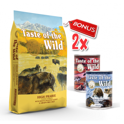 Taste Of The Wild - High Prairie - 12.2 Kg + 2 Conserve Taste of the Wild GRATIS