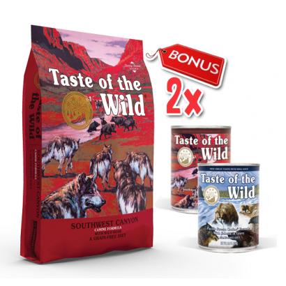 Taste Of The Wild Southwest Canyon - 12.2 Kg + 2 Conserve Taste of the Wild GRATIS